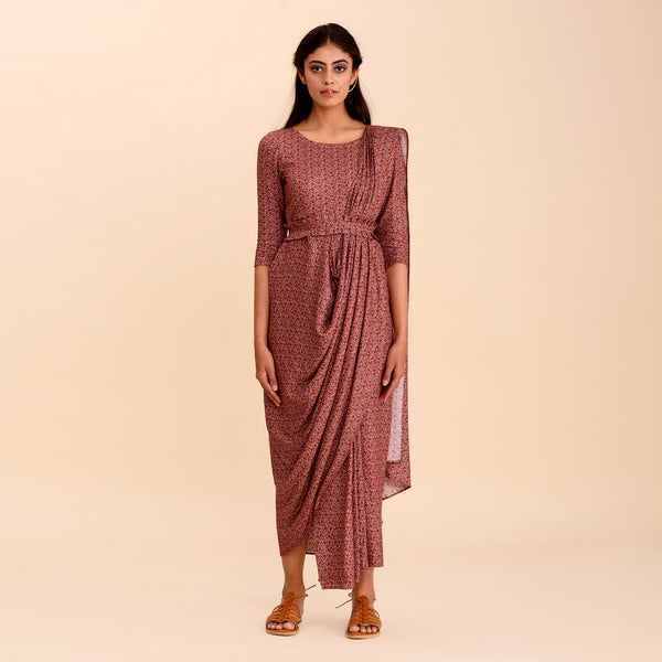 Rosewood Printed Saree Dress