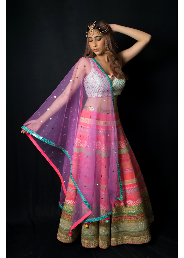 The Neon Nirvana Geometric Lehenga