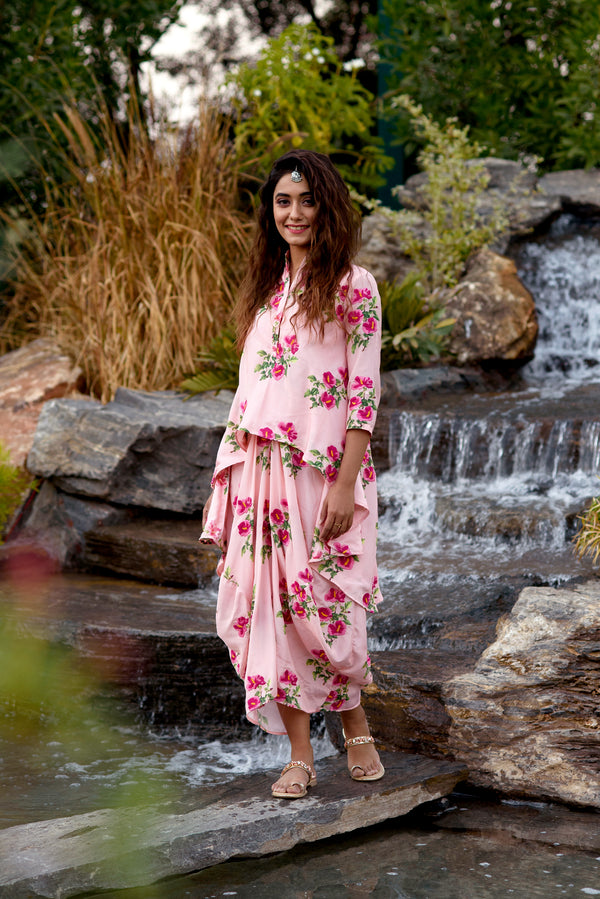 Festive Floral Embroidered Kurti Dress
