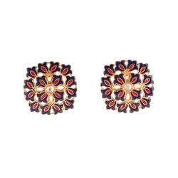 Floral Bunch Square Stud Earrings