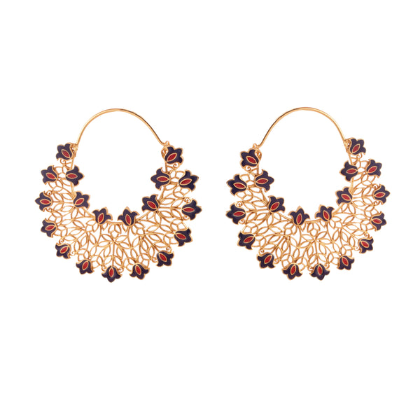 Lace of Flowers Hoop Earrings