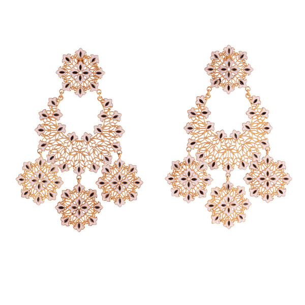 Floral Flare White Statement Earrings