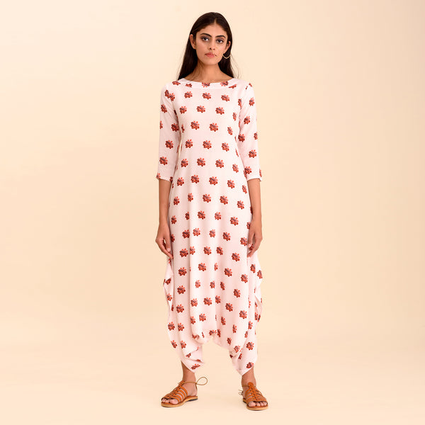 Powder Pink Printed Dhoti Jumpsuit
