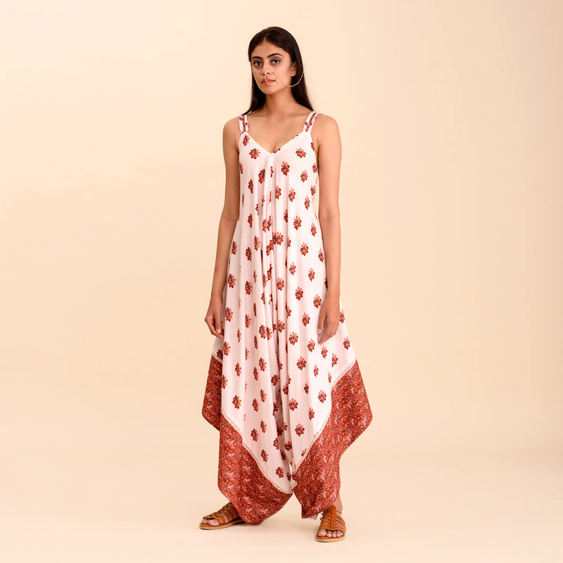 Pink Printed Strap Palazzo Jumpsuit
