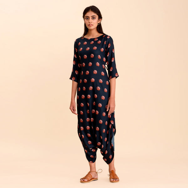 Navy Blue Printed Dhoti Jumpsuit