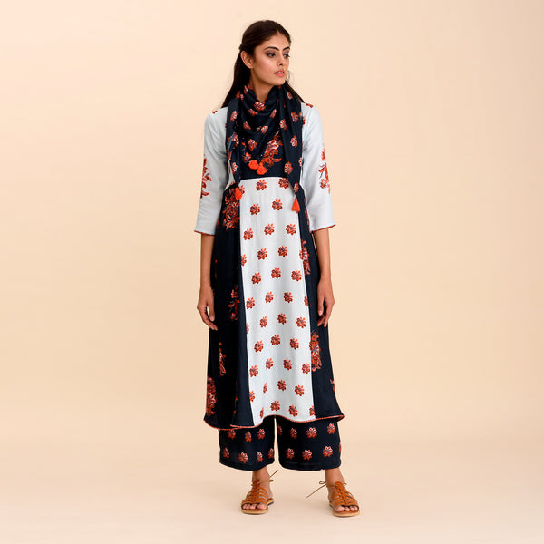 Navy Blue Patchwork A-Line Kurta Set