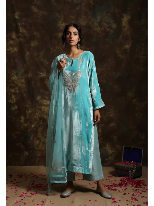 Aqua Blue Velvet Embroidered Kurta Set