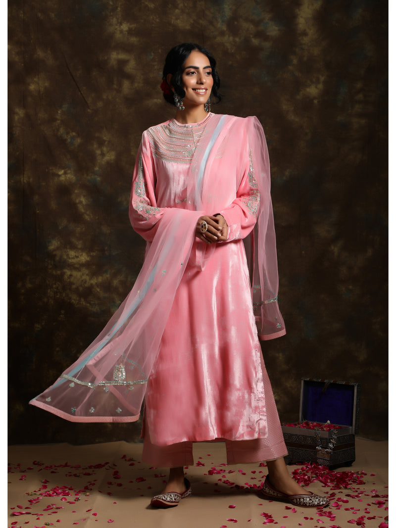 Flamingo Pink Velvet Embroidered Kurta Set