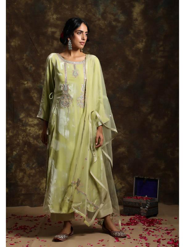 Sunny Lime Velvet Embroidered Kurta Set
