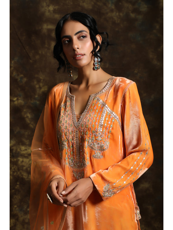 Orange Velvet Embroidered Kurta Set