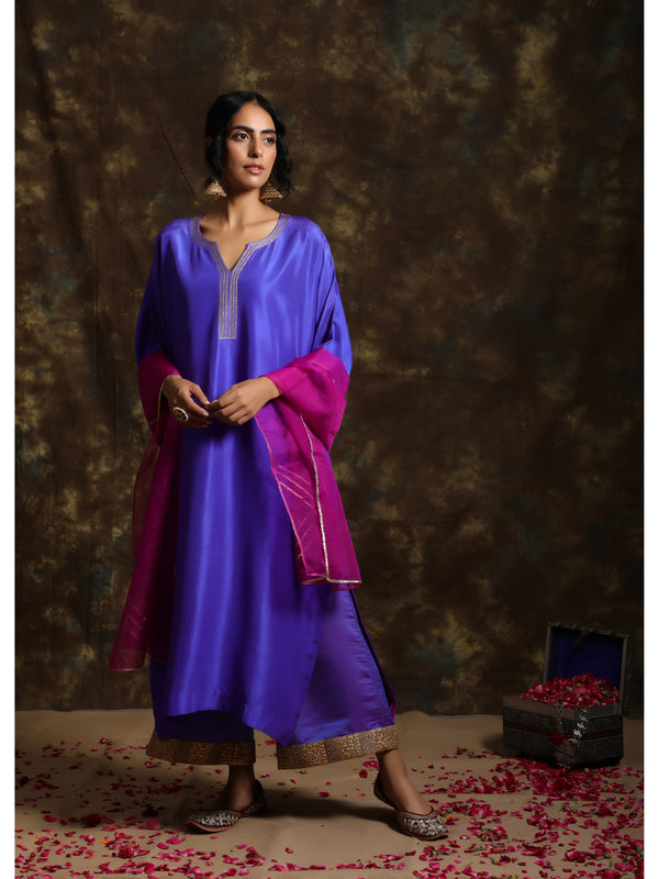Royal Purple Silk Kurta Set