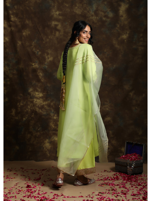 Soft Green Silk Kurta Set