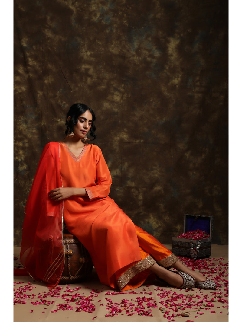 Tangerine Orange Silk Kurta Set