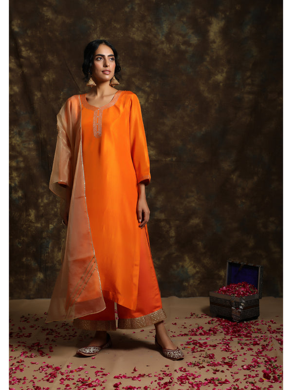 Saffron Silk Kurta Set
