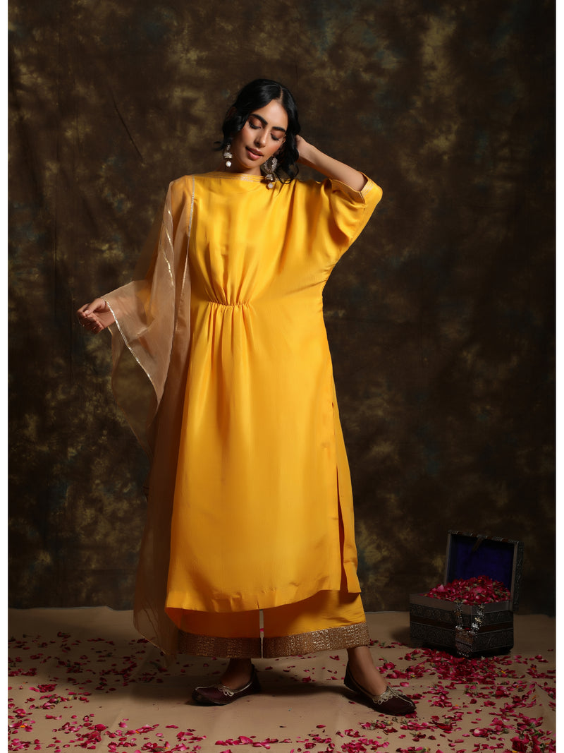 Sunset Yellow Kaftan Kurta Set
