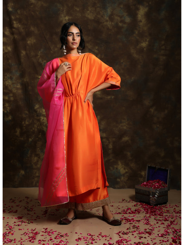 Sunset Orange Kaftan Kurta Set