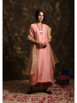Powder Pink A-Line Kurta Set