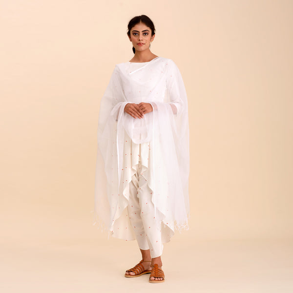 White Asymmetric Printed Kurta & Dhoti Set
