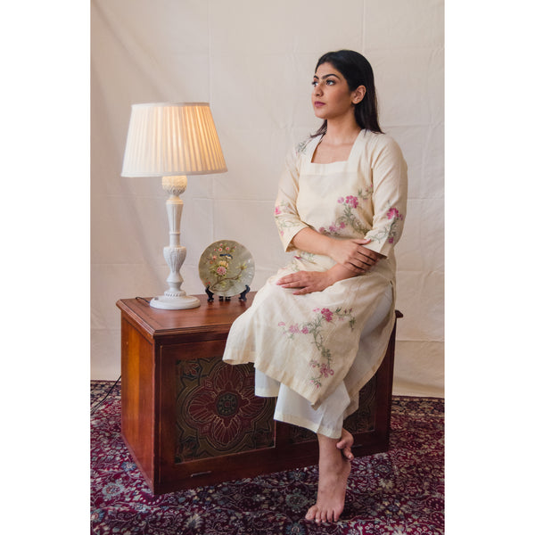Cream Iris Kurta Set