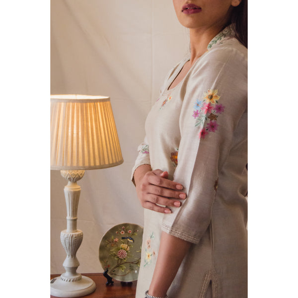 Beige Desert Rose Kurta Set