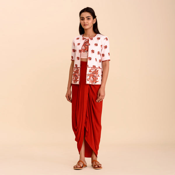 Cherry Red Crop Top, Lungi Skirt & Jacket Set