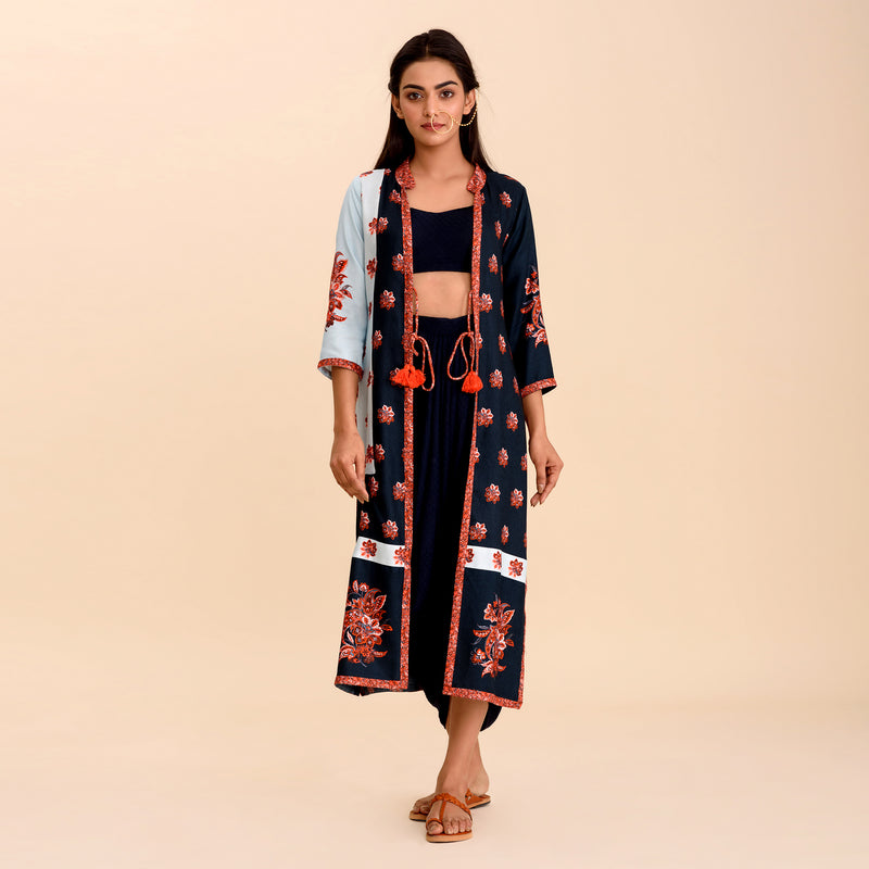 Navy Blue Patchwork Cape Set
