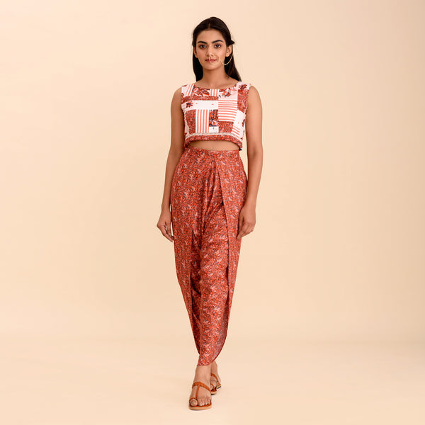 Carnelian Red Printed Dhoti Set