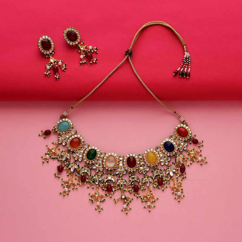 Classic Navratan Kundan Necklace Set