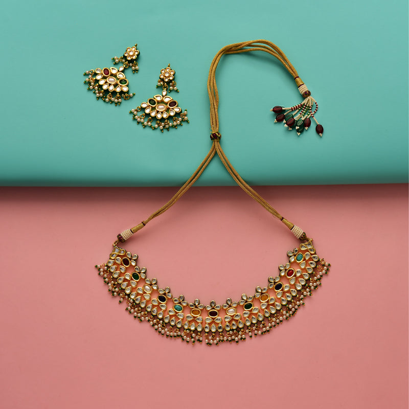 Graceful Navratan Kundan Necklace Set