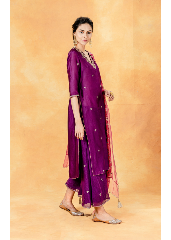 Purple Berry Festive Kurta - Embroidered Palazzo - Printed Dupatta