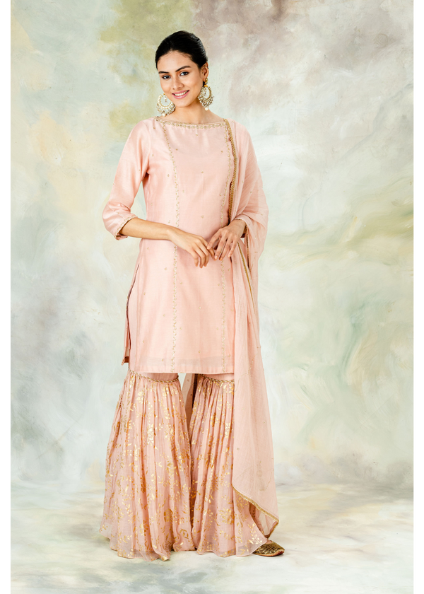 Blush Peach Festive Gharara Set