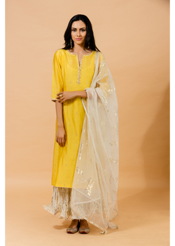 Yellow-Off White Festive Kurta Dress Set