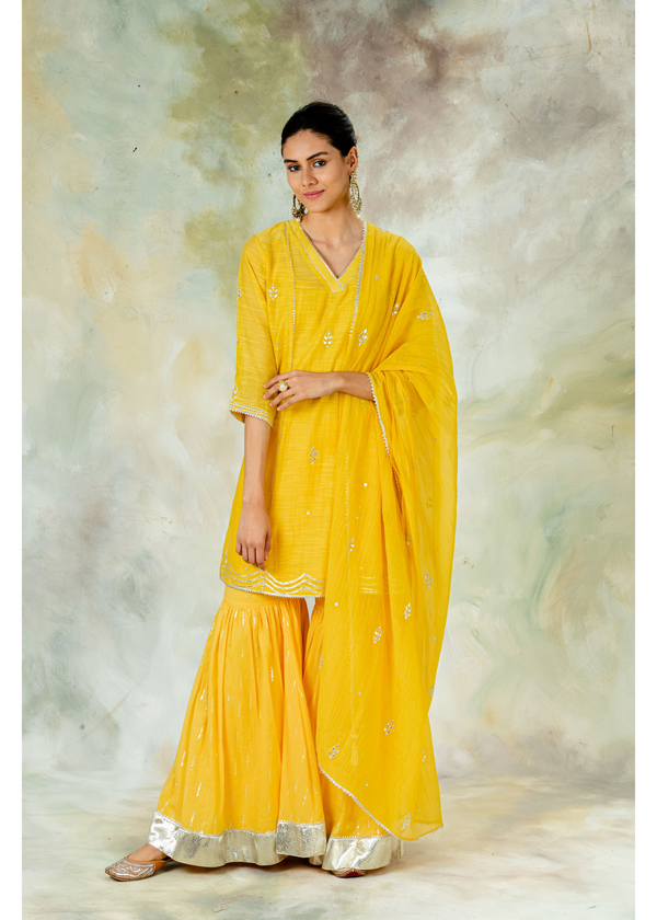 Yellow Festive Gota Sharara Set