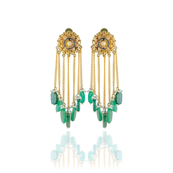 Marigold Tassel Earrings - Jade Green