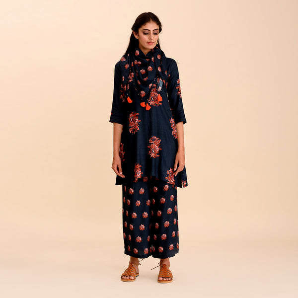 Navy Blue Printed A-Line Short Kurta Set