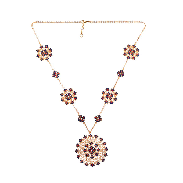 Flower Burst Medallion Necklace