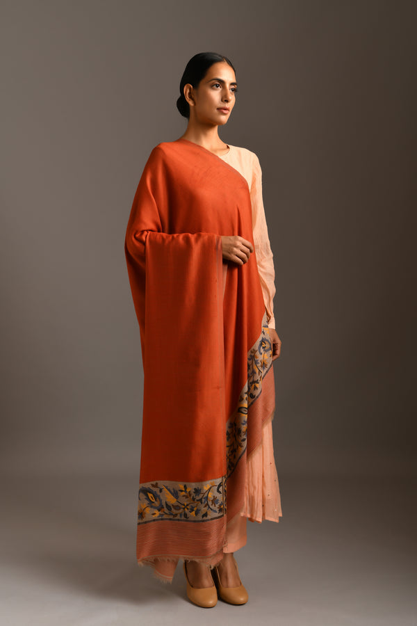 Orange Pashmina Fine Wool Stole