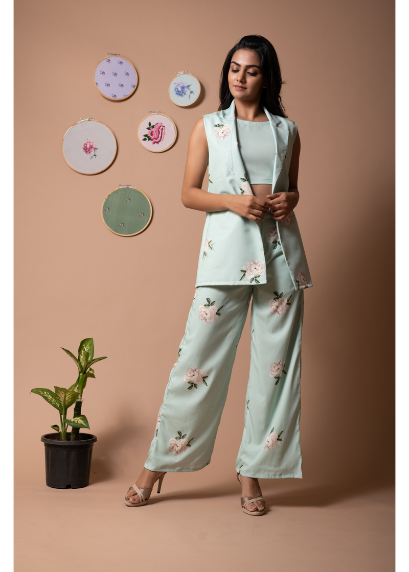 Floral Finesse Green Lily Pant Suit Set