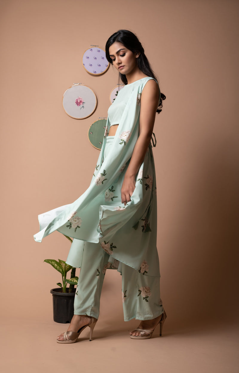 Floral Finesse Green Lily Printed Cape Set
