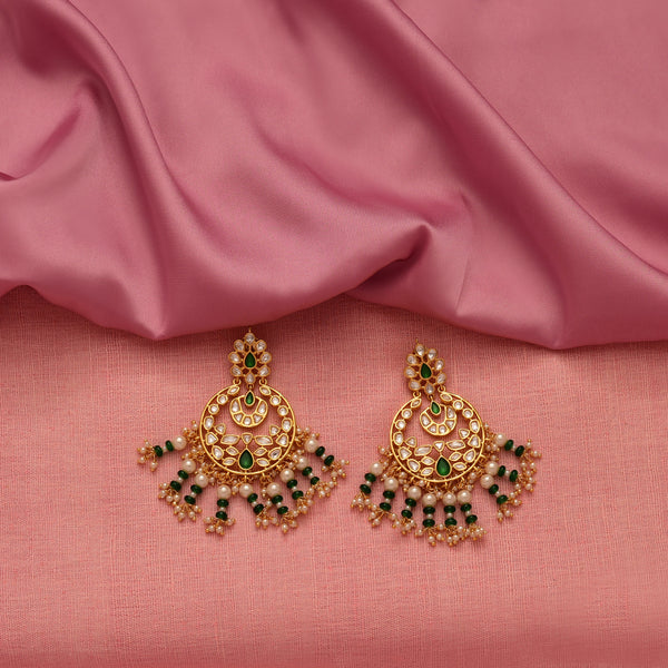 Beaded Kundan Chandbalis