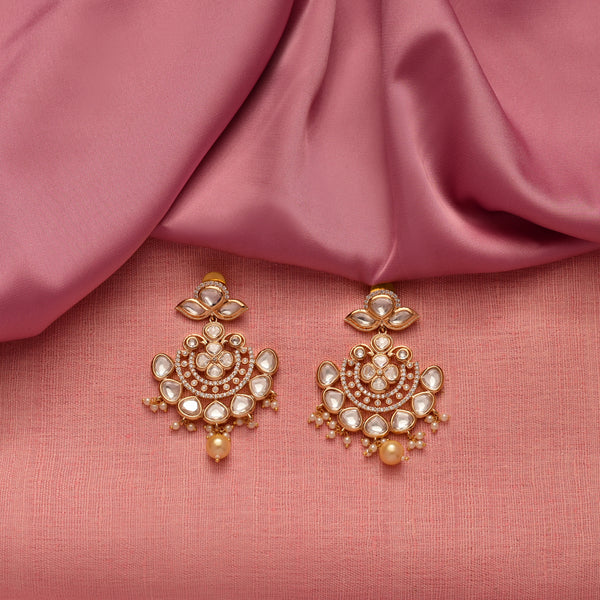 Gold Pearl Kundan Earrings