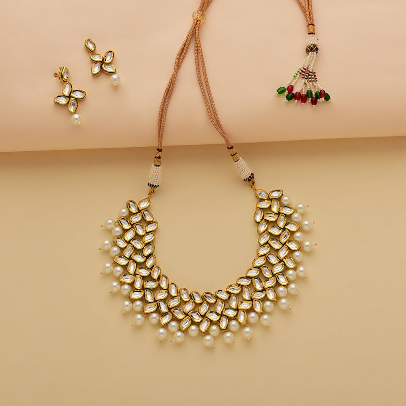Gold Kundan Pearl-Drop Set