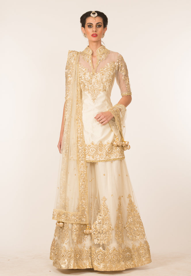 Ivory & Gold Embroidered Sharara Set