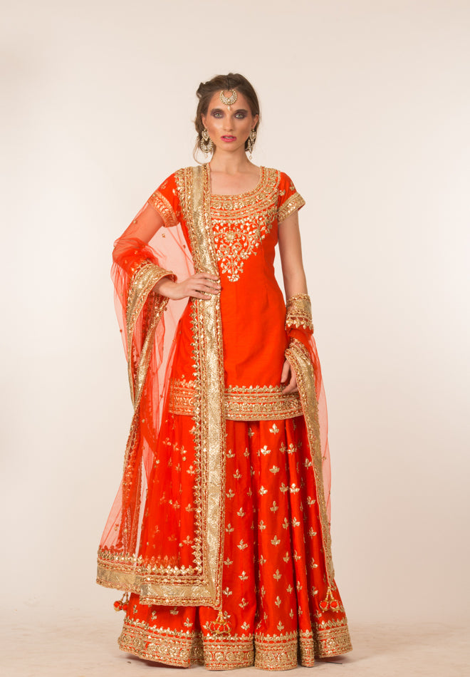 Red & Gold Embroidered Sharara Set