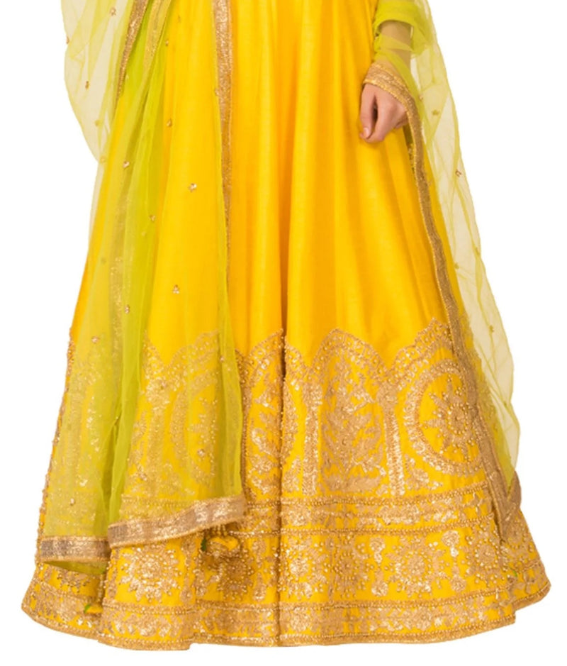 Yellow & Gold Embroidered Anarkali Set