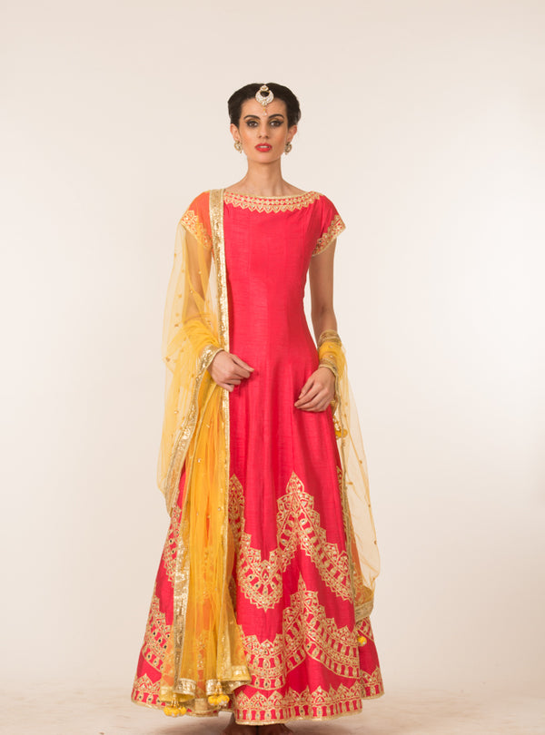 Pink & Yellow Embroidered Anarkali Set