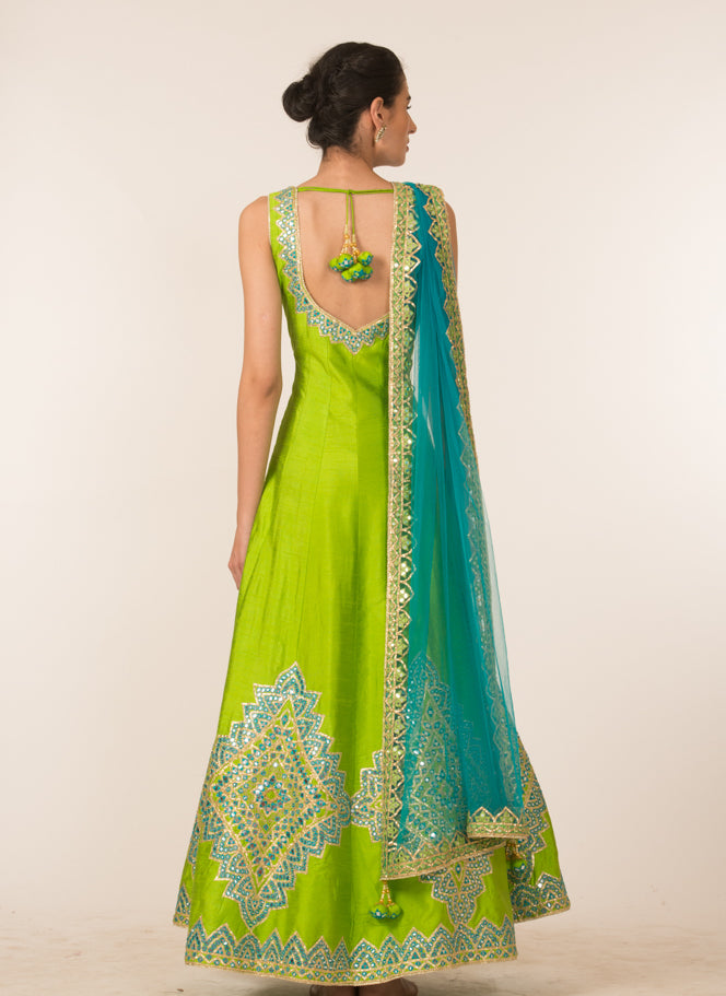 Blue & Green Embroidered Anarkali Set