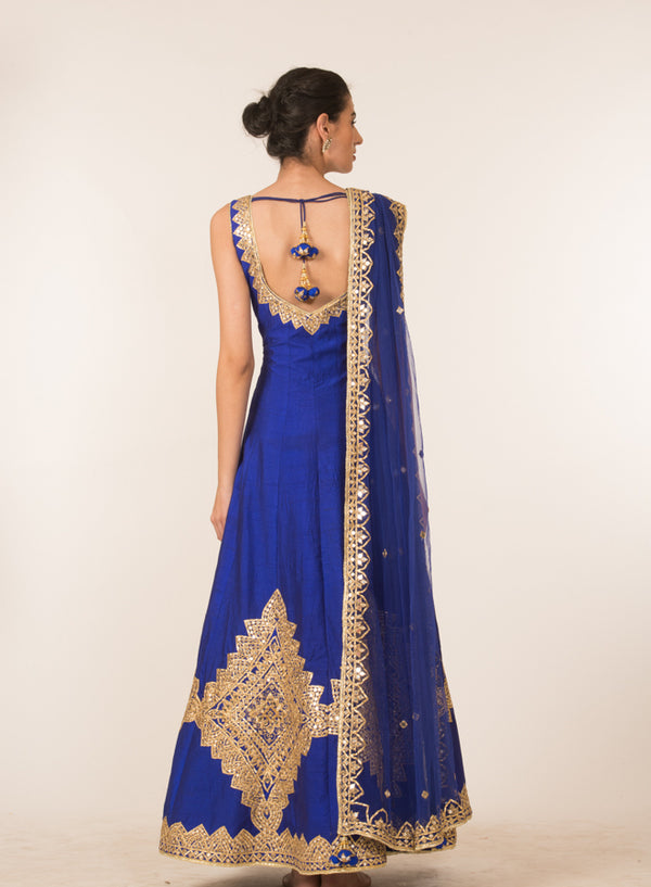 Royal Blue Embroidered Anarkali Set
