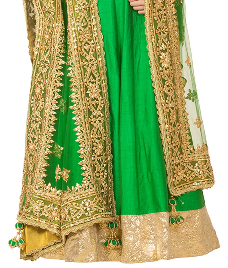 Emerald Green & Gold Embroidered Anarkali Set