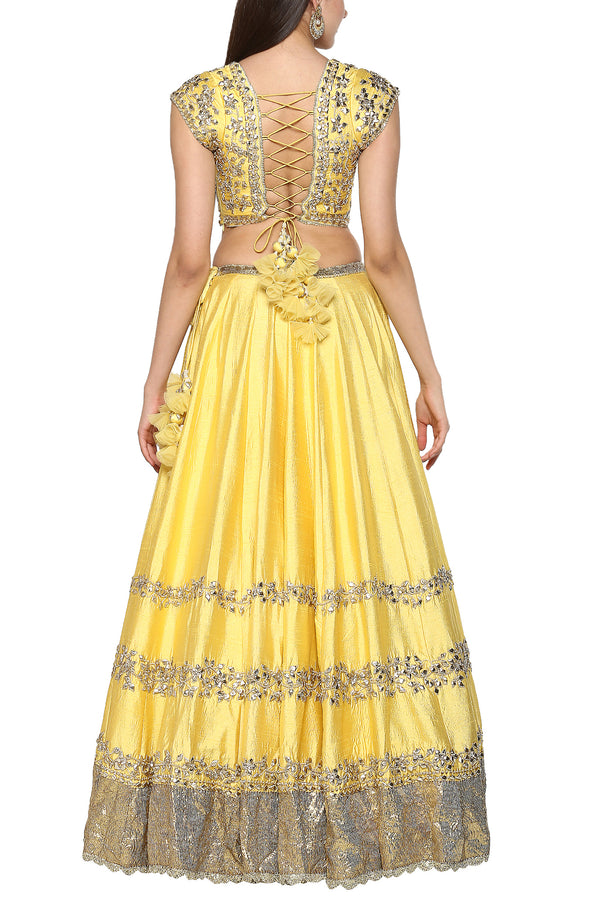 Lemon Yellow Embroidered Lehenga Set